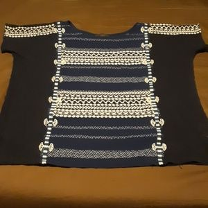 J Crew embroidered short sleeve top. Style C7016.
